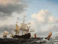 Голландский флагман становится на якорь близ побережья при свежем ветре