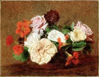 Анри Фантен-Латур. Розы и настурции в вазе