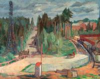 Лесной пейзаж с железнодорожной станцией