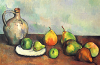 Still life with jug and fruits