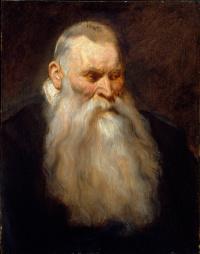 Эскиз головы старика с седой бородой