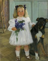 Портрет Ирины Кустодиевой с собакой Шумкой