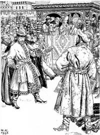 """Scene battle. Illustration for """"The Song of the Merchant Kalashnikov ..."""" by Lermontov"""