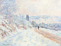 Claude Monet. The road to Vétheuil, snow effect