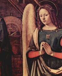 Worship the baby, the scene: Maria, the baby Jesus, kneeling angel, St. John the Baptist, detail, Tondo