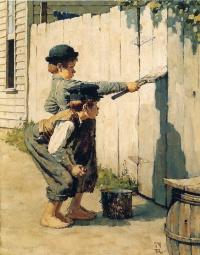 Tom Sawyer paints the fence