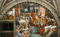 The coronation of Charlemagne by Pope Leo III. Fresco stanza del Incendio di Borgo