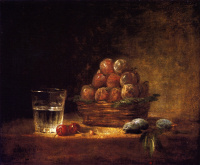 Still life with a basket of plums, a glass of water, cherries and almonds