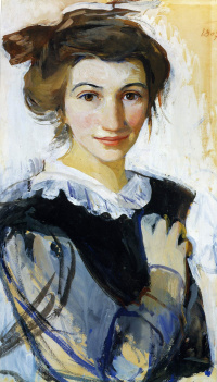Self-portrait in a black dress with white collar