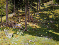 Mikhail Konstantinovich Klodt von Jurgensburg. The forest is illuminated