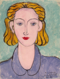 A young woman in a blue blouse