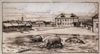 """Street N... illustration for the story N.In. Gogol's """"Tale about how quarreled Ivan Ivanovich with Ivan Nikiforovich"""""""