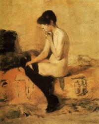 Henri de Toulouse-Lautrec. Nude seated on a sofa