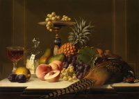 Large fruit still life with pheasant and a glass of wine.