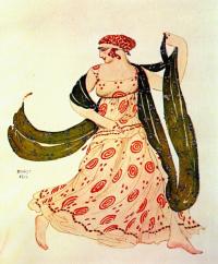 """Greek dancer. Costume design for the ballet """"Cleopatra"""""""