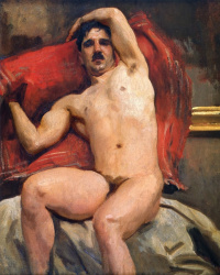 A naked man on a red pillow