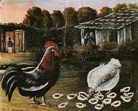 Нико Пиросмани (Пиросманашвили). Петух и наседка с цыплятами
