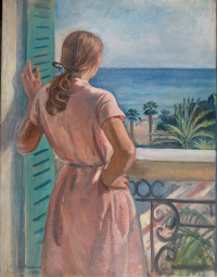 Зинаида Евгеньевна Серебрякова. Девушка на балконе (Катя)