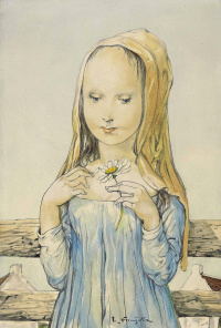 Girl with chamomile
