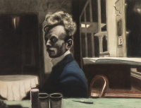 1908_Автопортрет (Self-portrait, 3 November)_49,7 x 65_бумага, ink, watercolor and crayons