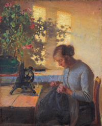 Жена рыбака за шитьём