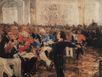 Илья Ефимович Репин. А. С. Пушкин на акте в Лицее 8 января 1815 года. Эскиз