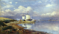 Landscape with barges