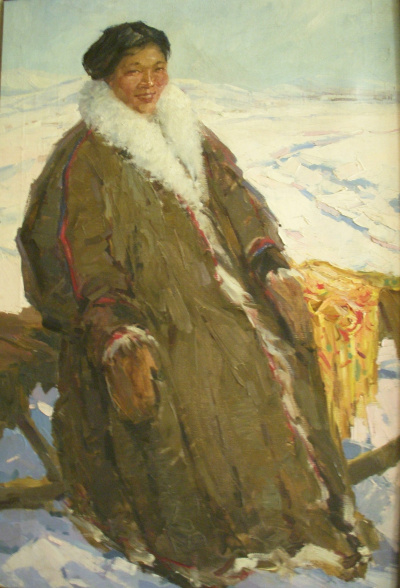 Nenets girl on sled