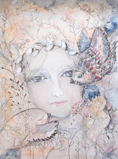 Girl - Spring with migratory birds. Print