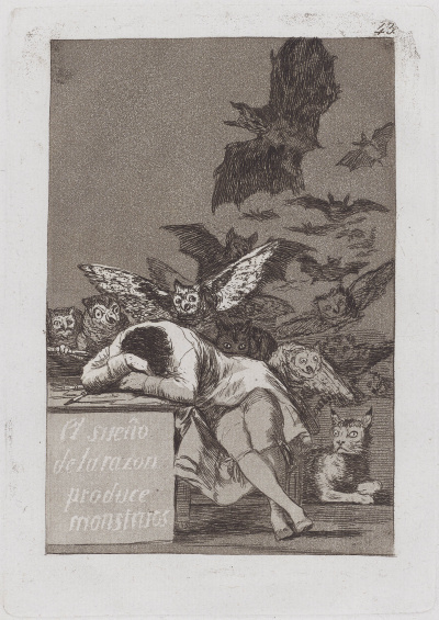 The sleep of reason produces monsters (from the series Los Caprichos, sheet 43)