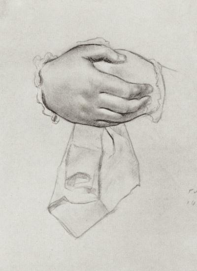 "Рисунок рук к картине ""Купчиха"". Набросок"