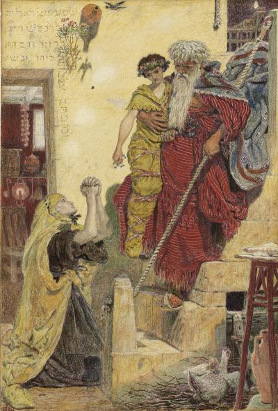 Илия и сын вдовы (акварель)