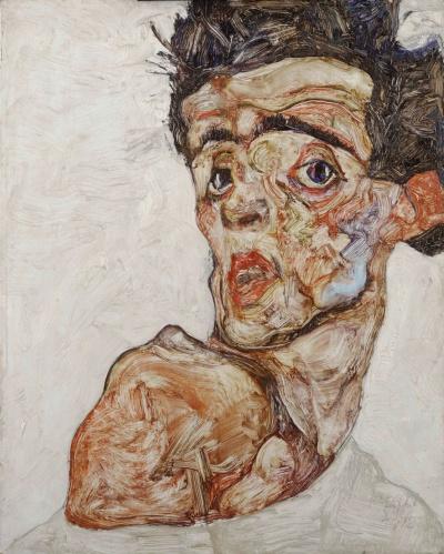 Self portrait with raised bare shoulder