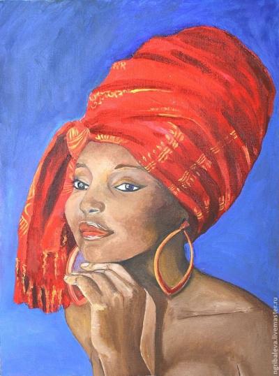 Молодая женщина в красном тюрбане
