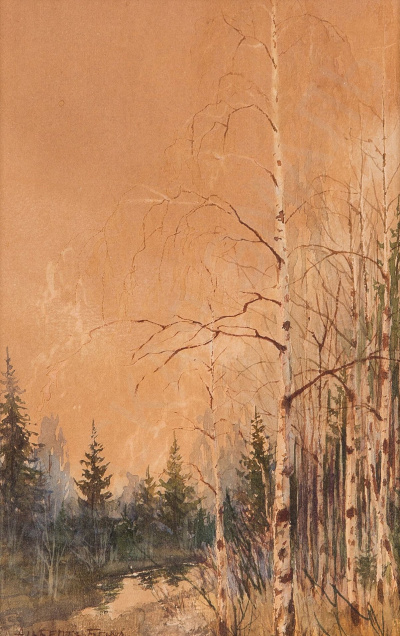 Landscape with birches. 1910s
