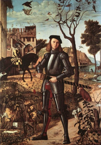 Portrait of a young knight in a landscape