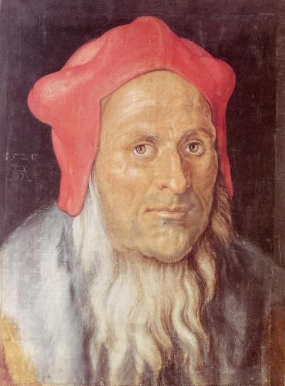 Портрет бородатого мужчины в красной шапке