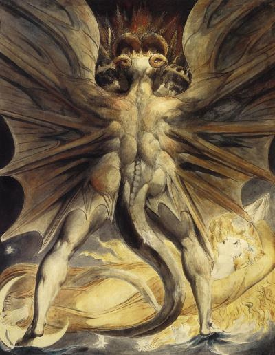 Иллюстрации к Библии. Большой красный дракон и женщина, одетая в солнце