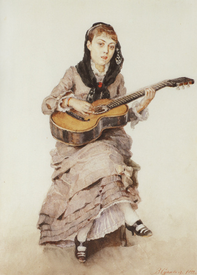 With a guitar. Portrait of Princess S. A. Kropotkina