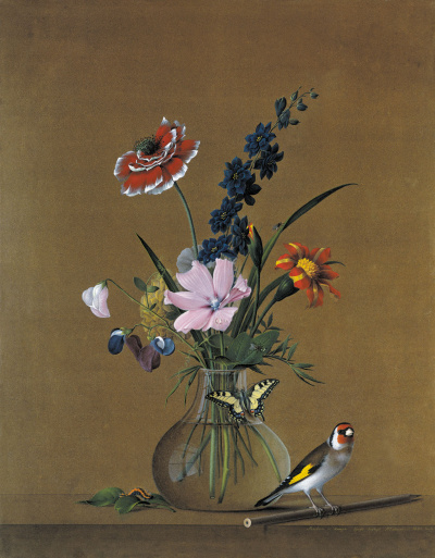 A bouquet of flowers, butterfly and bird