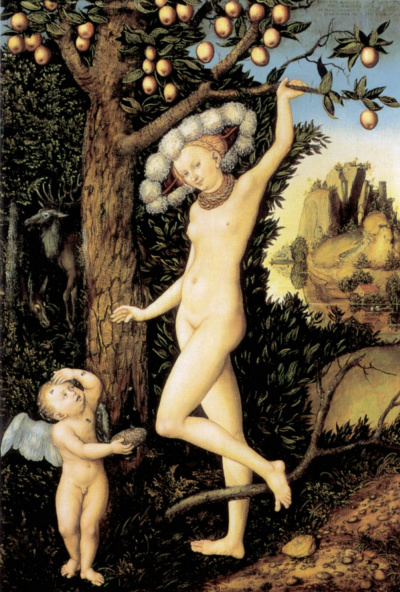 Venus and Cupid with honey combs