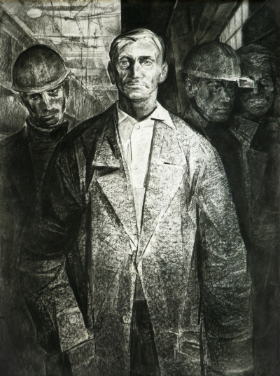 Miners. paper / charcoal. 80x50.