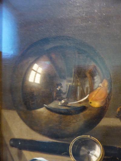 Ванитас. Натюрморт со скрипкой и стеклянным шаром. Фрагмент: Автопортрет в отражении