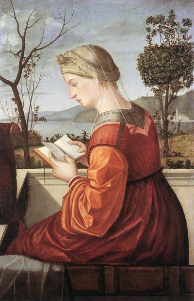 Дева читает