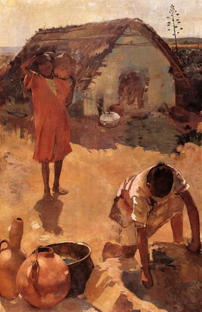 Figures near a well in Morocco