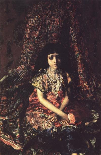 Girl against a Persian carpet