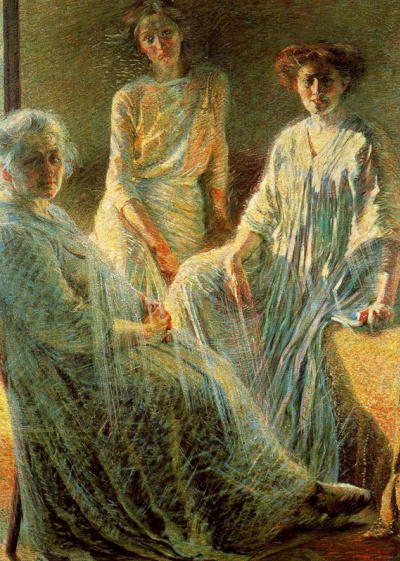 An elderly woman and two girls