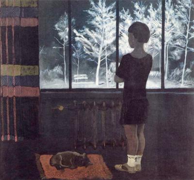 Александр Александрович Дейнека. Девочка у окна. Зима