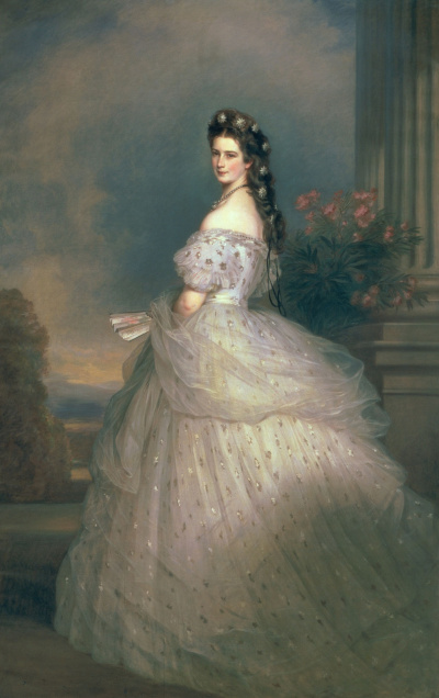 Elizabeth of Bavaria, Empress of Austria, wife of Emperor Franz Joseph, in a formal dress with diamond stars