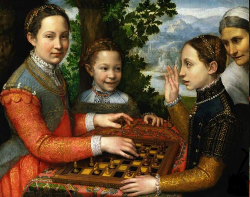 Софонисба Ангиссола. Сестры художницы Лючия, Минерва и Европа играют в шахматы